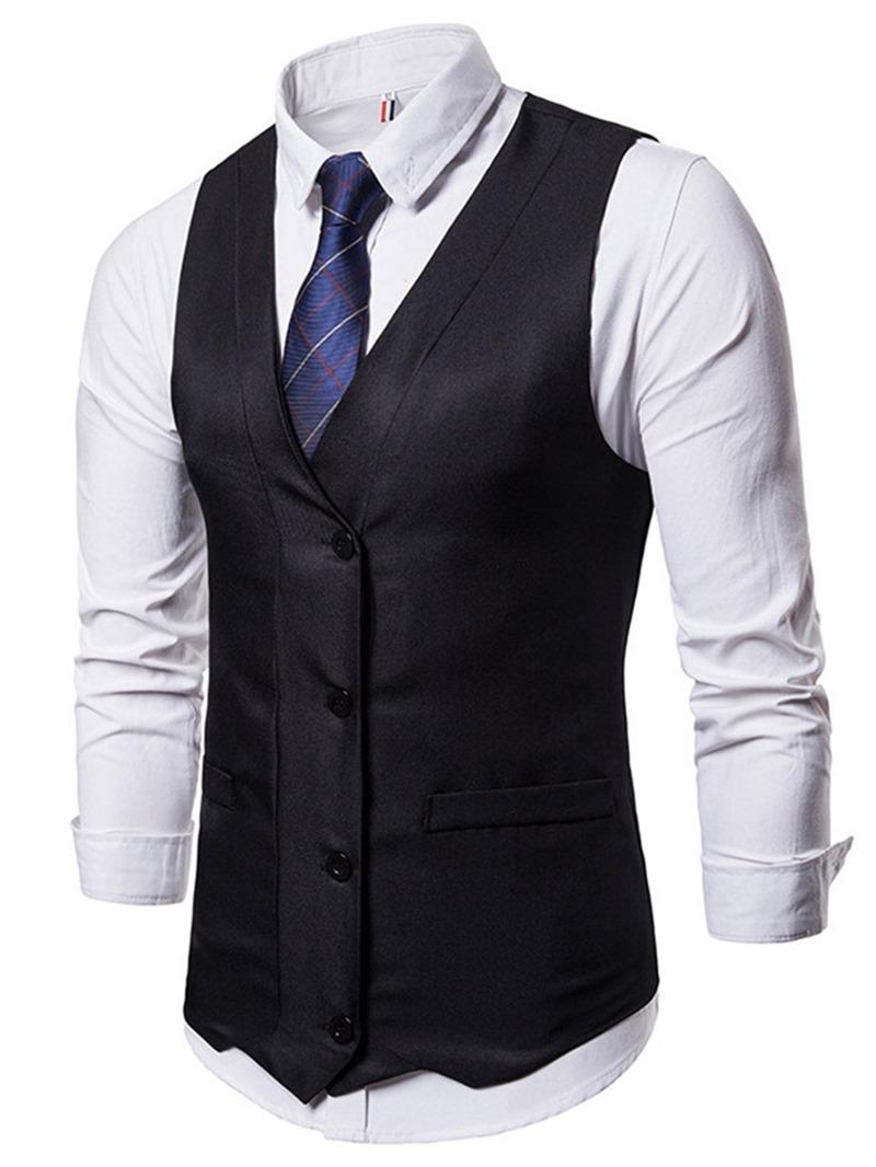Ericdress Button V-Neck Plain Single-Breasted Mens Spring Waistcoat