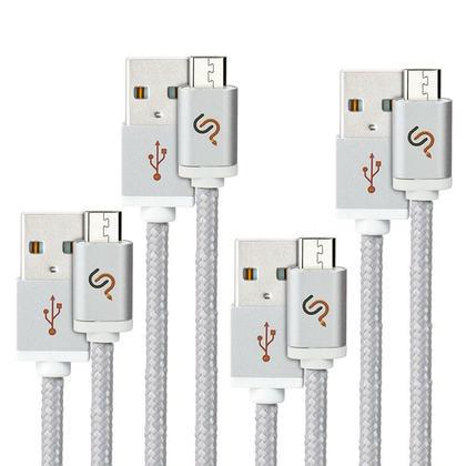Câble de charge/synchro USB 2.0 Hi-Speed Micro USB avec tresse en nylon - 6pi - PrimeCables® - 4/paquet