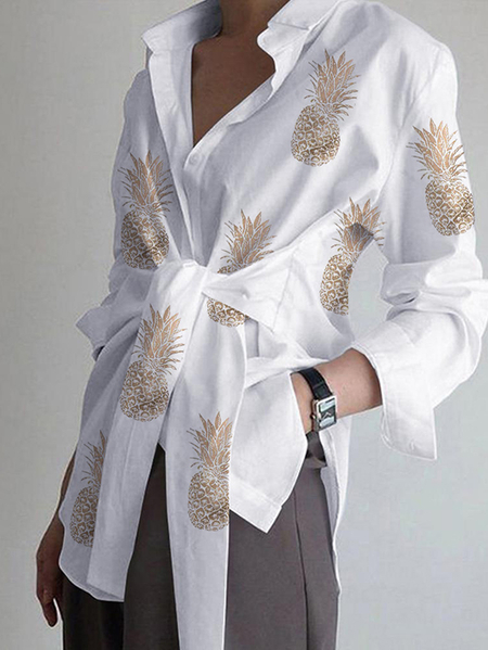 Yoins Tie-up Design Classic Collar Long Sleeves Blouse