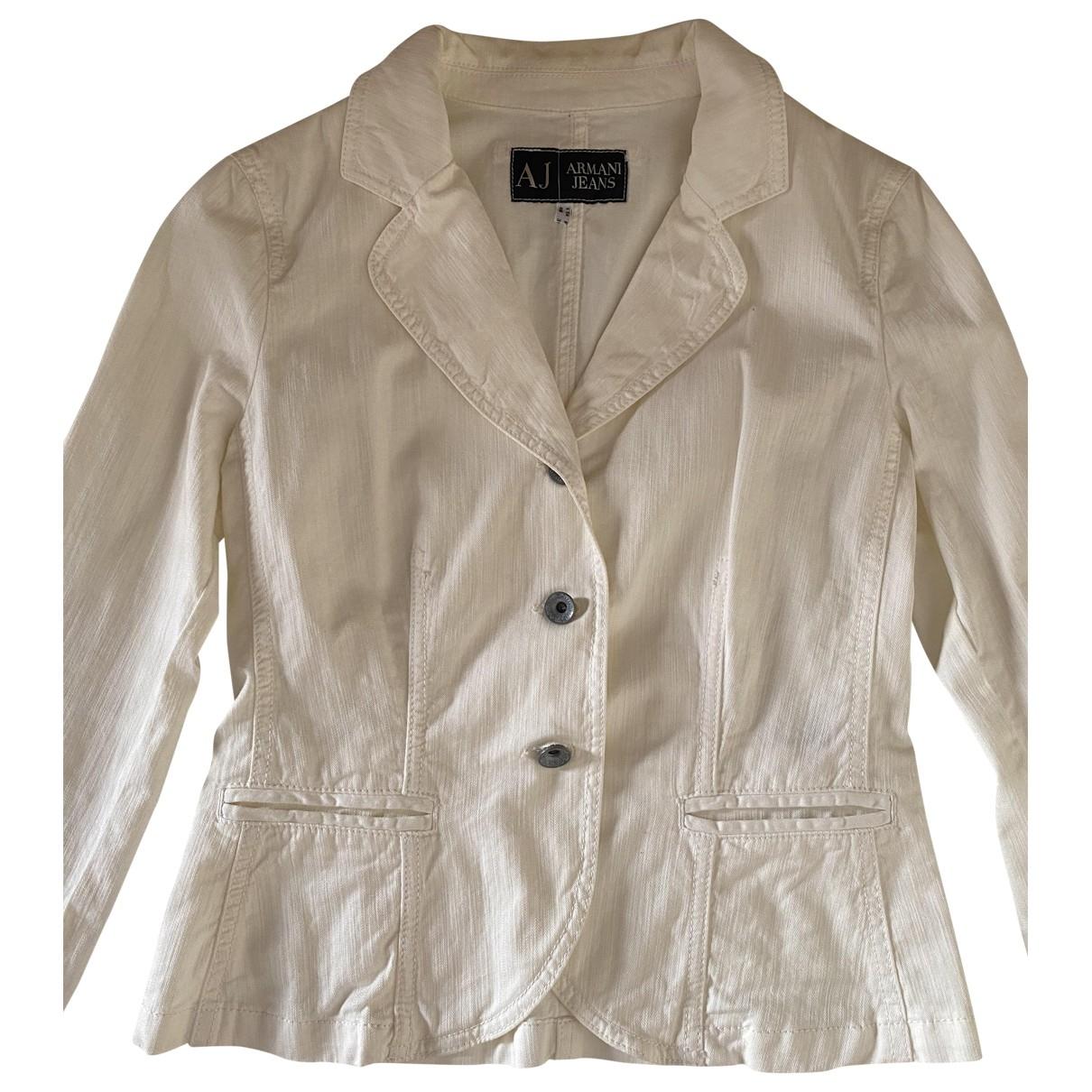 Armani Jeans \N Jacke in  Weiss Baumwolle