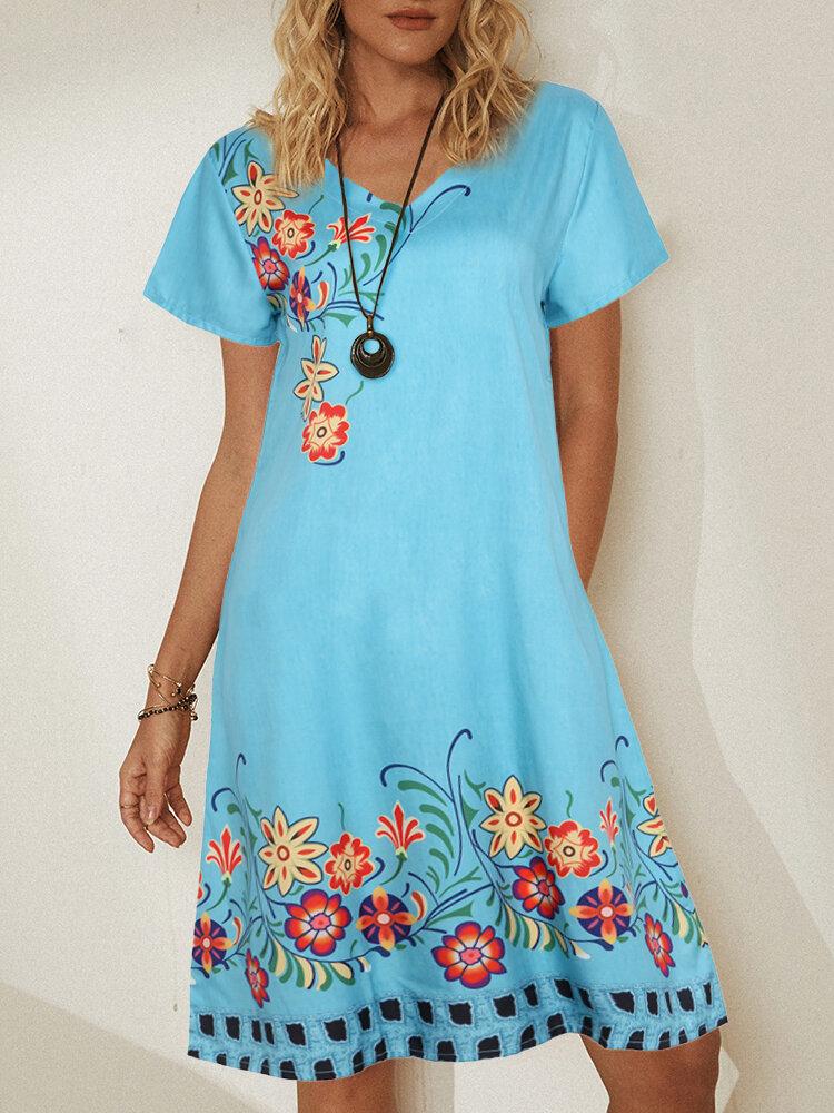 Floral Printed V-neck Short Sleeve Midi Dress
