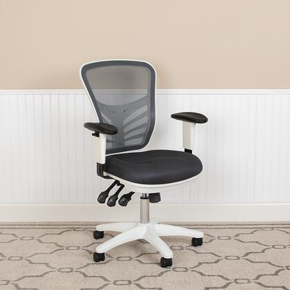 HL-0001-WH-DKGY-GG Hl-0001-Wh-Dkgy-Gg Mid-Back Dark Grey Mesh Multifunction Executive Swivel Ergonomic Office Chair With Adjustable Arms And White