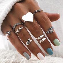 9 piezas anillo con diseño de corazon