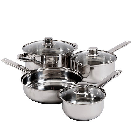Gibson Home Landon 7-Piece Stainless Steel Cookware Set, One Size , Silver