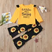 Toddler Girls Slogan Tee & Sunflower Print Pants Set