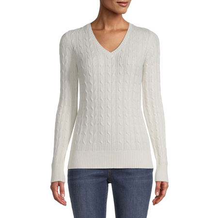 St. John's Bay Cable Womens V Neck Long Sleeve Pullover Sweater, Large , White