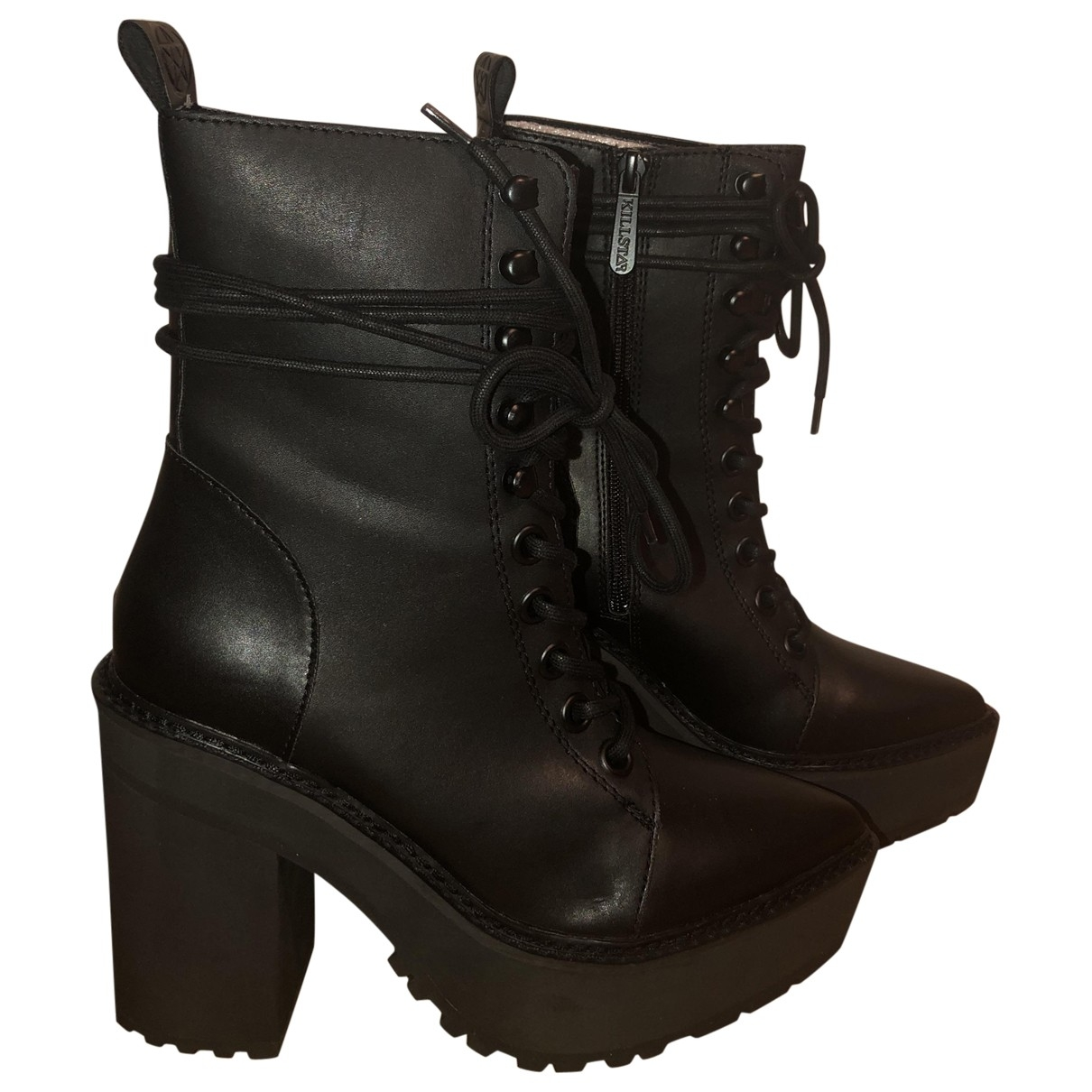 Non Signé / Unsigned \N Black Cloth Ankle boots for Women 38 EU