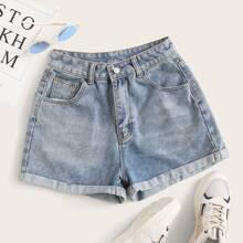 Grosse Grossen - Denim Shorts mit gerollten Saum und Bleichen Waschung