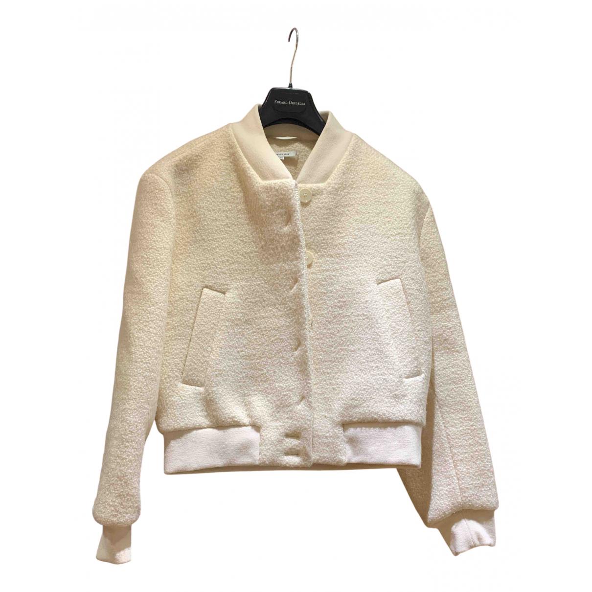 Carven - Manteau   pour femme en laine - blanc