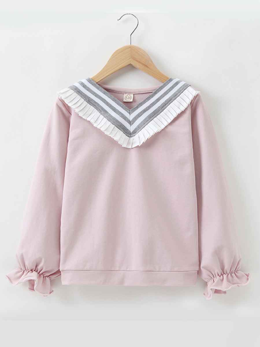 LW lovely Casual O Neck Patchwork Pink Girl Hoodie