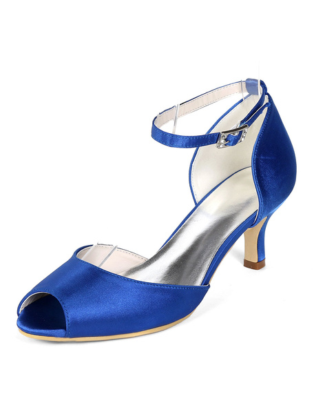 Milanoo Satin Wedding Guest Shoes Peep Toe Plus Size Kitten Heel Mother Of The Bride Shoes