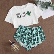 Schlafanzug Set mit Buchstaben & Kaktus Muster