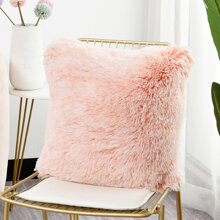 1pc Plain Faux Fur Cushion Cover Without Filler