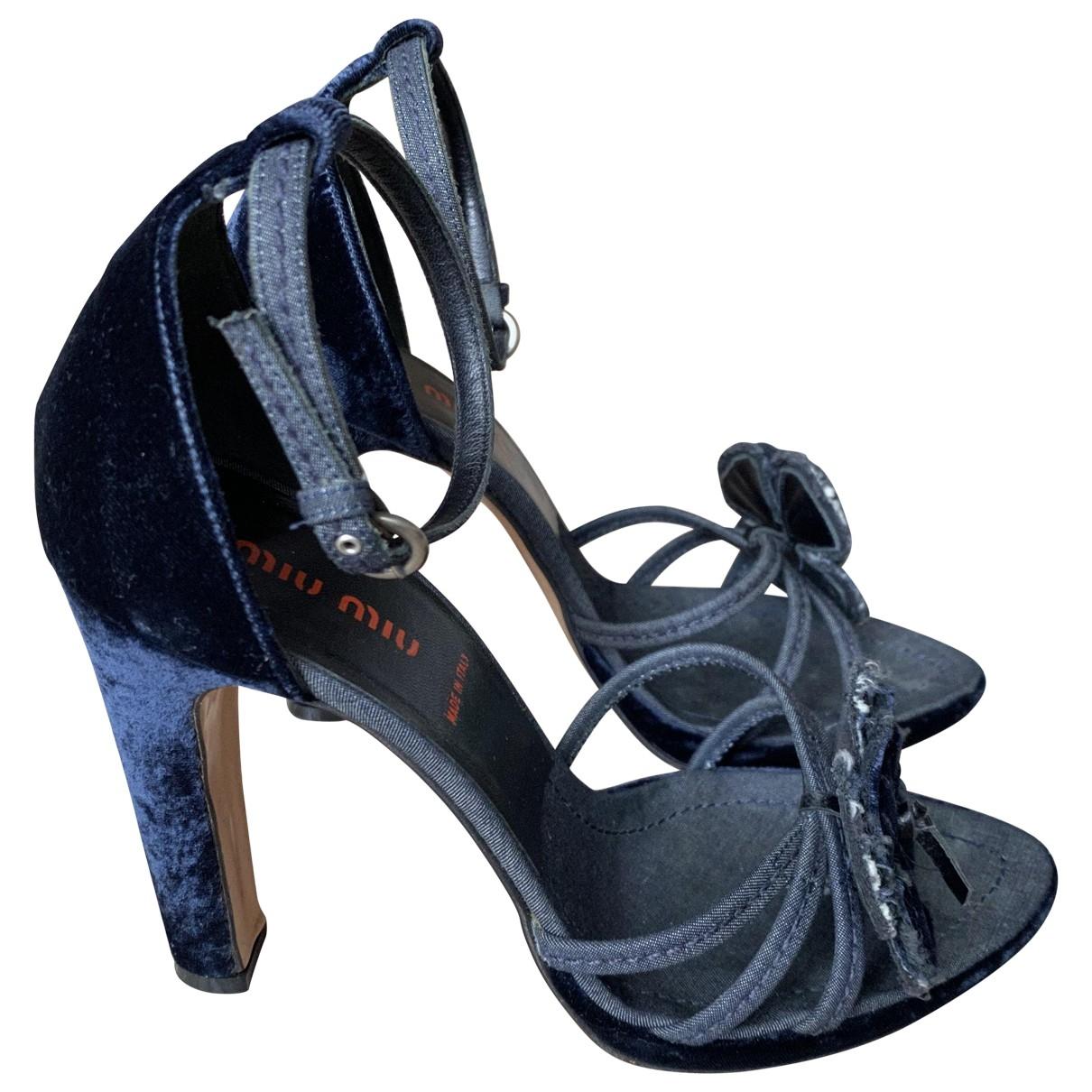 Miu Miu \N Blue Velvet Sandals for Women 37.5 EU