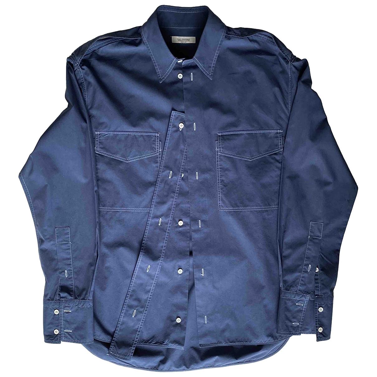 Valentino Garavani \N Navy Cotton Shirts for Men 38 EU (tour de cou / collar)
