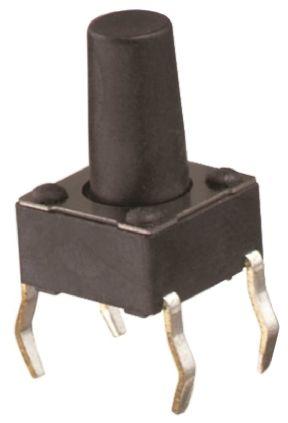 Wurth Elektronik Black Tactile Switch, Single Pole Single Throw (SPST) 50 mA @ 12 V dc 0.9mm Through Hole