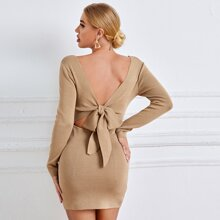 Tie Back Ribbed Knit Sweater Dress