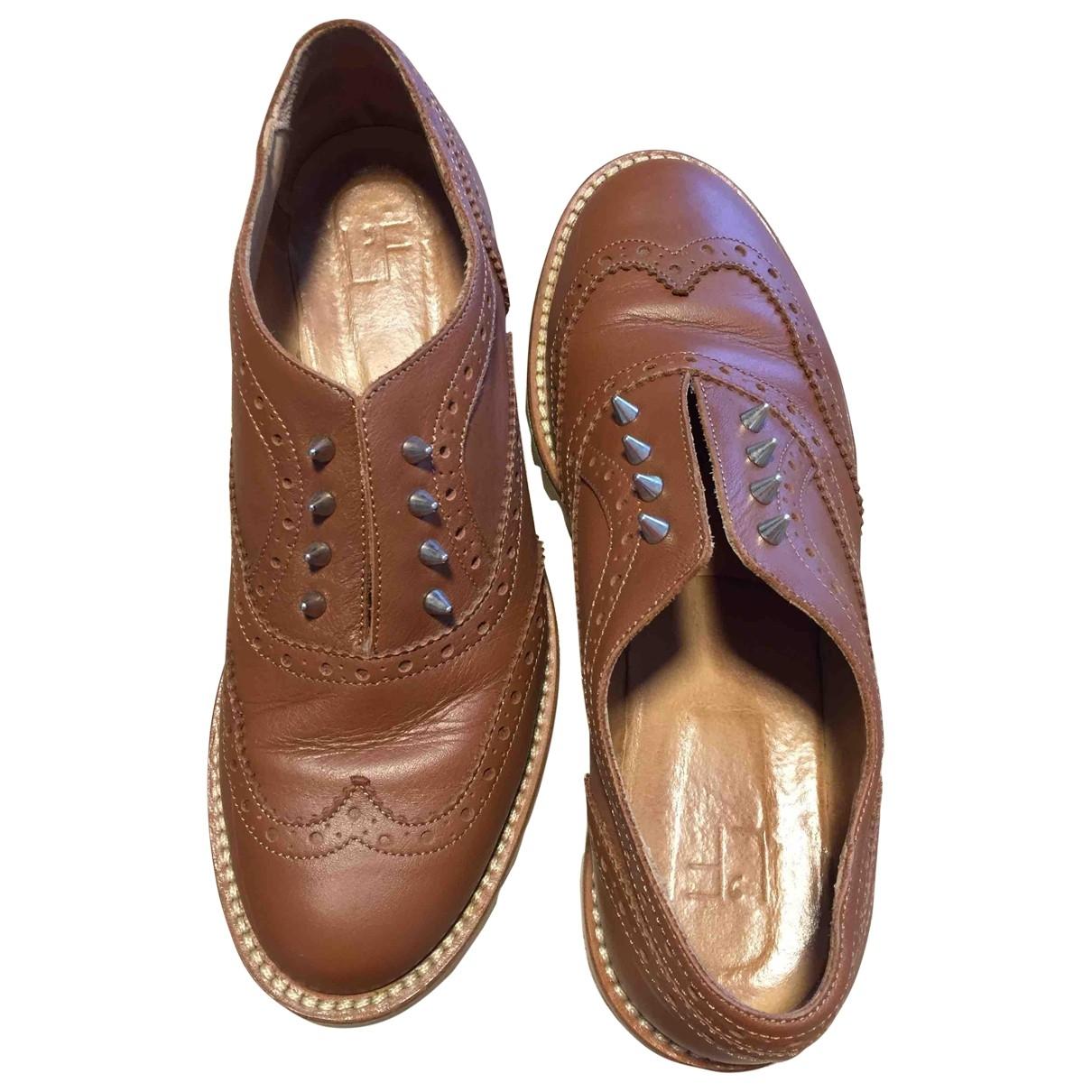 L'f Shoes \N Camel Leather Flats for Women 39 EU