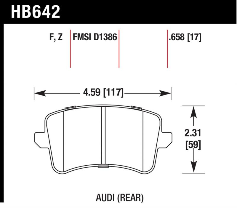 Hawk Performance HB642F.658 Disc Brake Pad Audi Rear