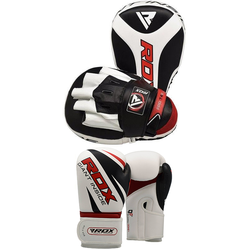 RDX 4W Boxhandschuhe and Focus Pads 16oz Weiss