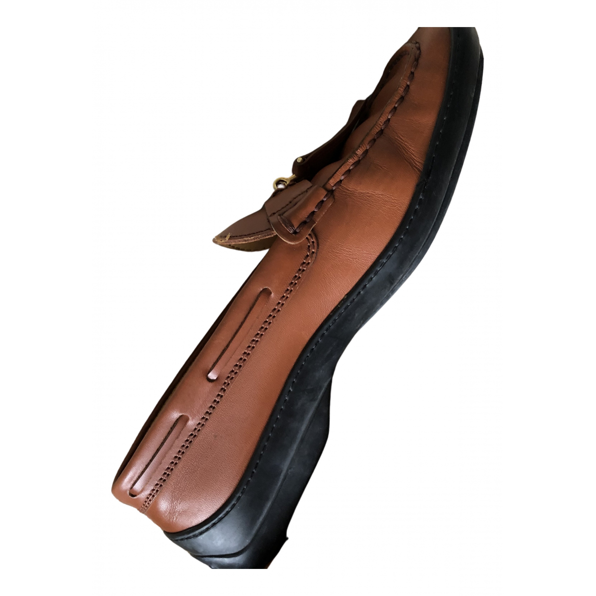 Tod's N Brown Leather Flats for Women 38 EU