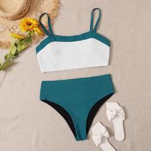 Plus Color Block High Waisted Bikini Swimsuit