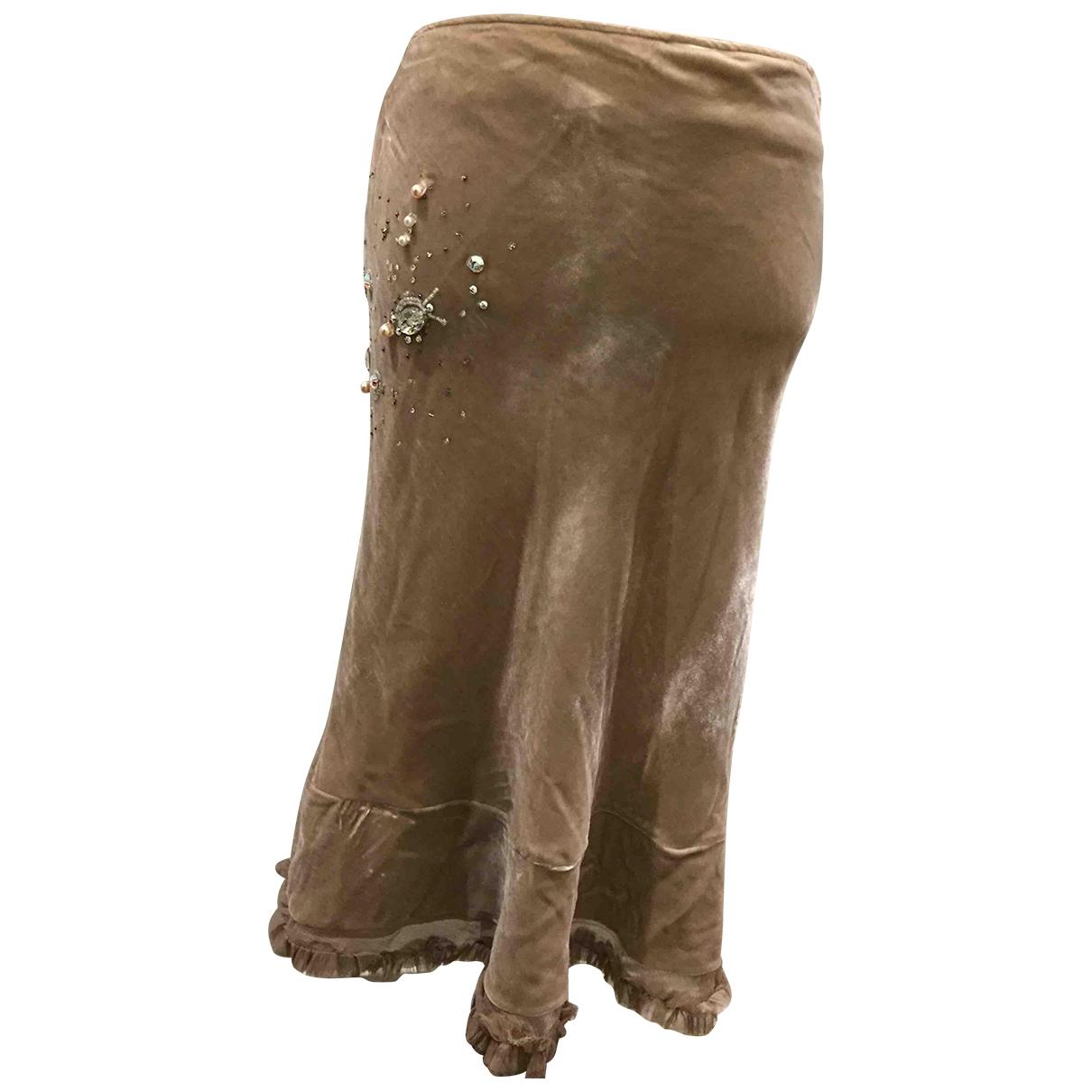 - Jupe Hippie Chic pour femme en soie - beige