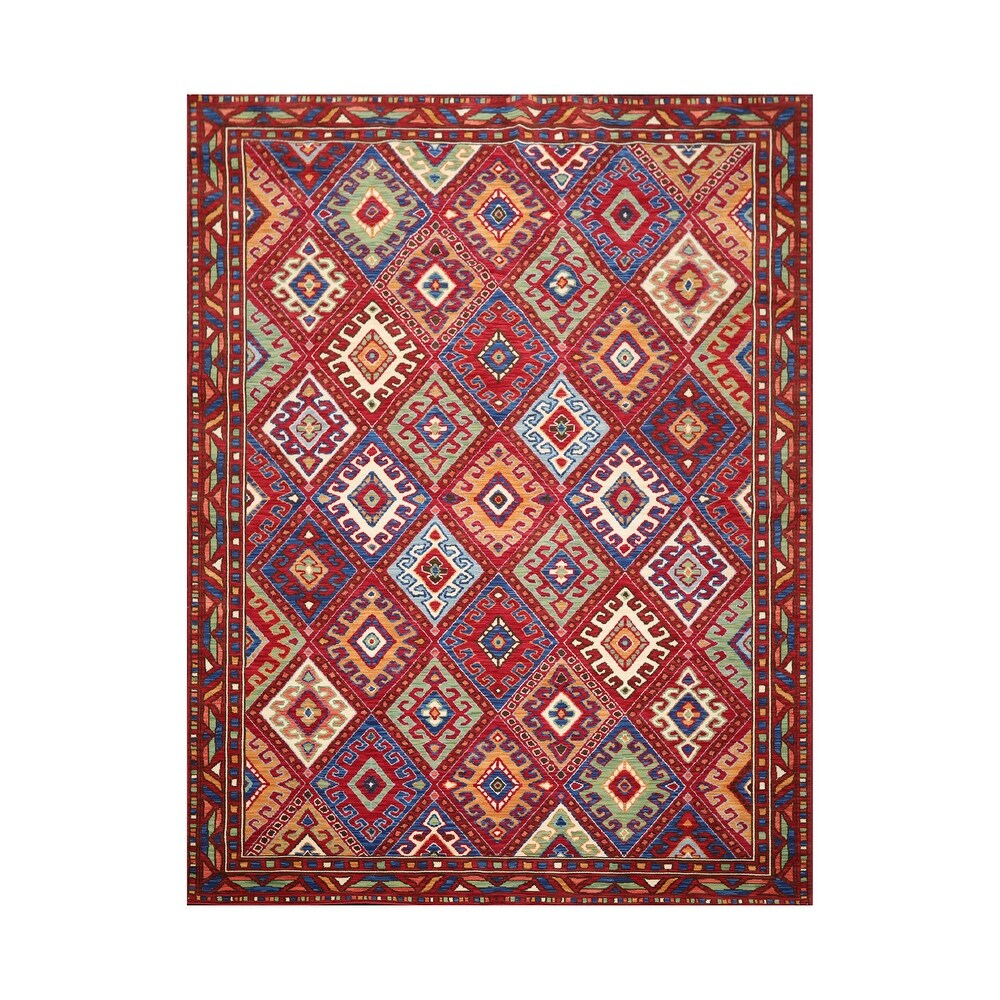 8x10 Machine Made 100% Wool Traditional Oriental Area Rug Red, Navy Color - 8'  x 11' (Navy/Red - 8' x 11')