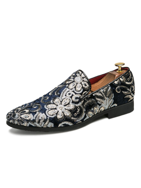 Milanoo Mens Loafers Black Sequins Artwork Round Toe Slip-on Polyester Shoes