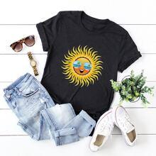 T-Shirt mit Sonne Muster und rundem Kragen