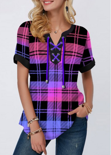 Lace Up Short Sleeve Plaid Print Blouse - S