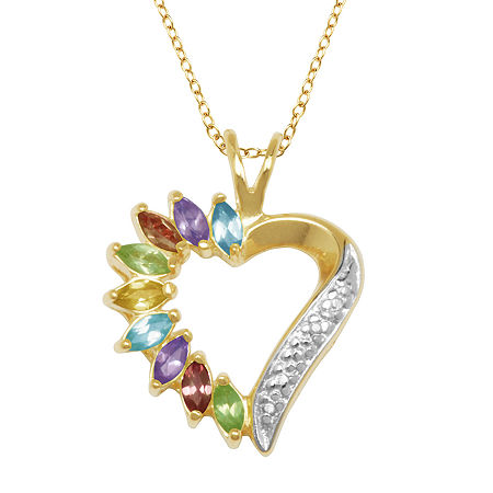 Silver Treasures Internet Catalog Stone 14K Gold Over Silver 18 Inch Cable Heart Pendant Necklace, One Size , No Color Family