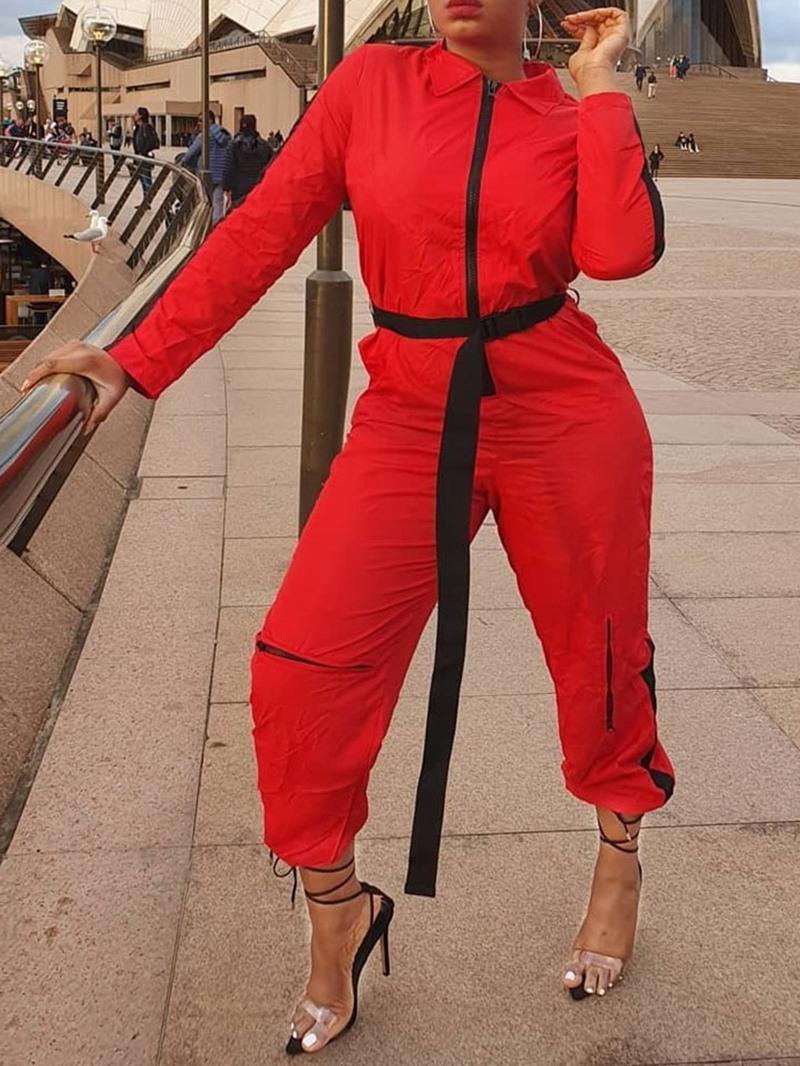 Ericdress Color Block Zipper Ankle Length Mid Waist Loose Jumpsuit