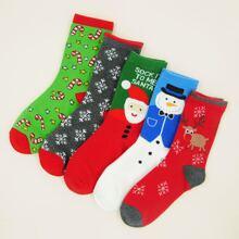 5 pares calcetines con patron de Papa Noel de Navidad
