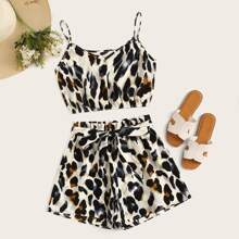 Allover Print Cami Top With Belted Shorts