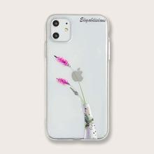 1pc Flower & Vase Print Clear iPhone Case