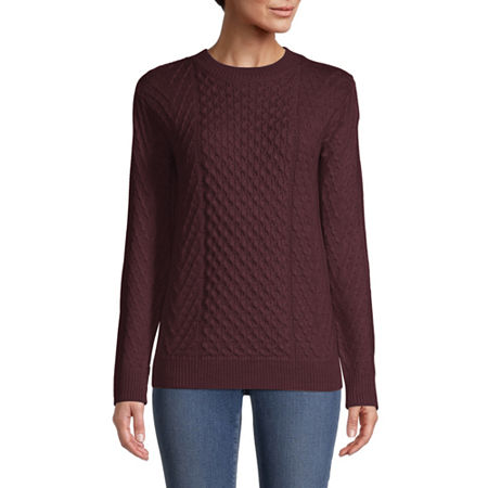 St. Johns Bay Womens Crew Neck Pullover Sweater, Petite X-large , Red