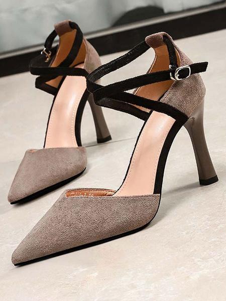 Milanoo Women High Heels Suede Pointed Toe Criss Cross Stiletto Heel Pumps