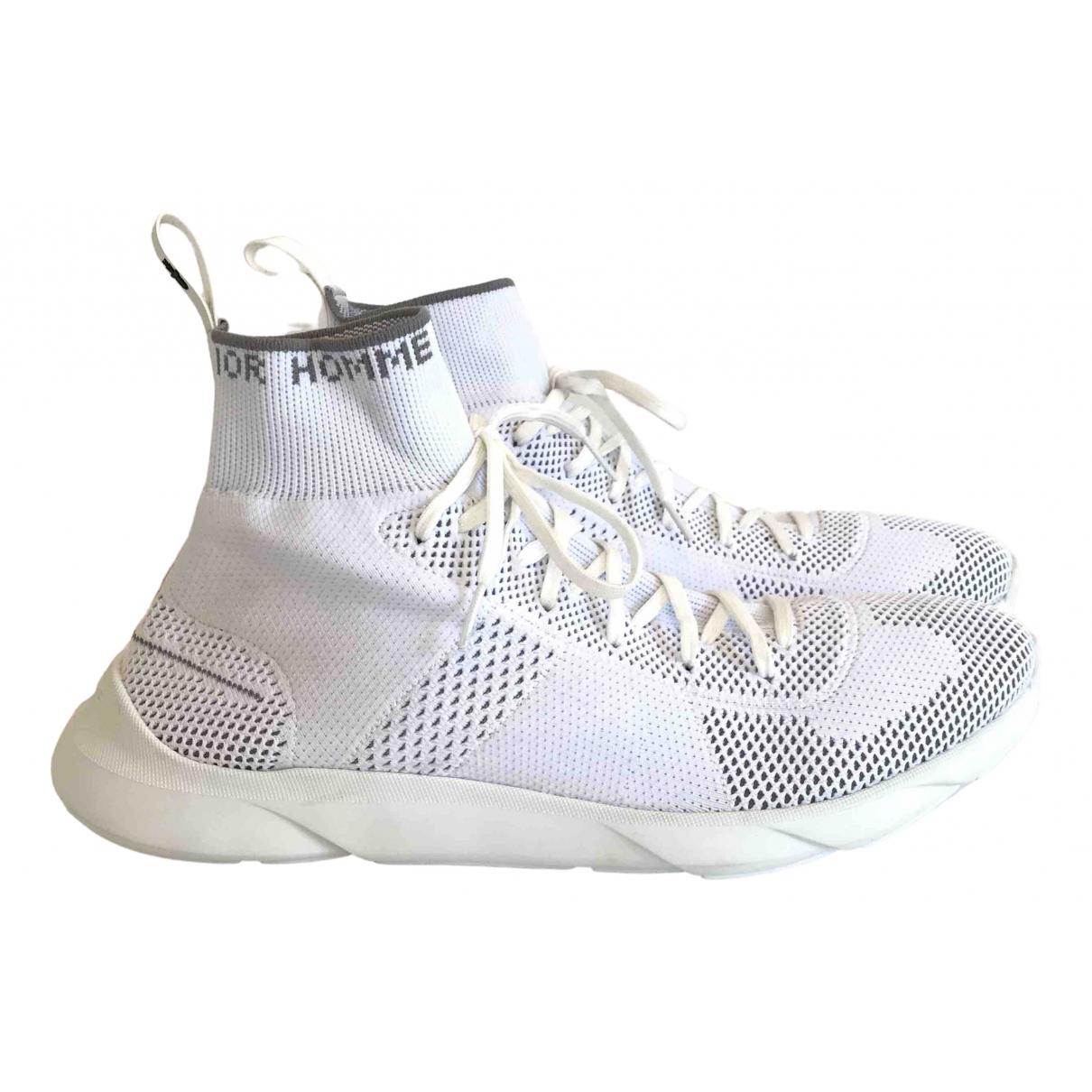 Dior Homme B21 socks Sneakers in  Weiss Leinen