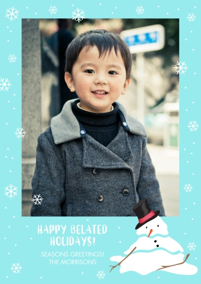 Holiday Photo Cards 5x7 Cards, Standard Cardstock 85lb, Card & Stationery -Melty the Snowman