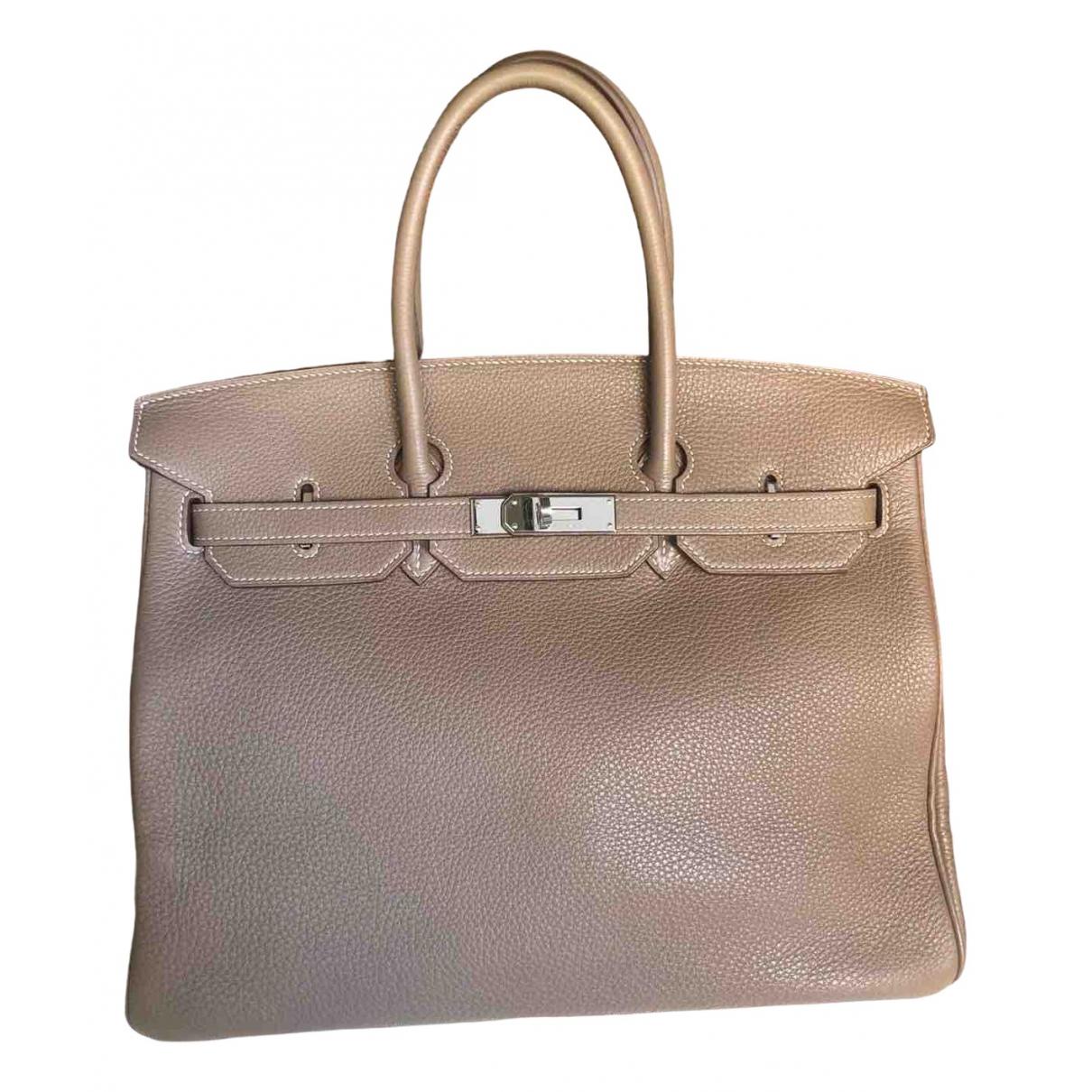 Hermes Birkin 35 Handtasche in  Grau Leder