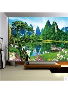 3D Cranes Flowers and Boats on River Printed Natural Style Blackout Curtain Roller Shade