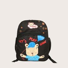 Kinder Rucksack mit Karikatur Grafik und Taschen vorn
