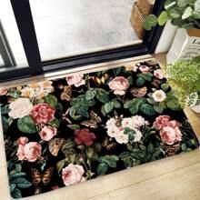 Flower & Butterfly Print Floor Mat