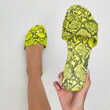 Neon Yellow Snakeskin Print Slide Sandals