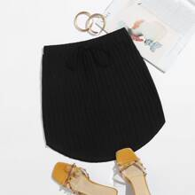 Knot Front Rib-knit Skirt