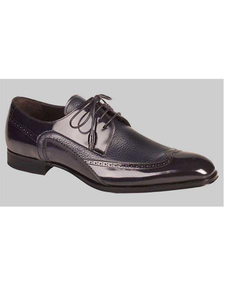 Men's Blue Deerskin Inlay Wingtips Leather Shoes Mezlan Brand