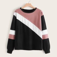 Sweatshirt in Ubergrosse mit Patchwork Design und sehr tief angesetzter Schulterpartie