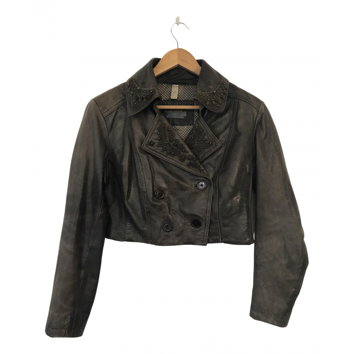 Non Signé / Unsigned N Grey Leather jacket for Women 44 FR