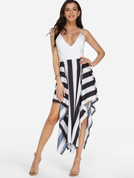 Yoins Stripe Pattern Criss Cross Back V-neck Backless Dress in White